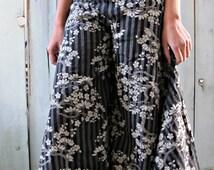 New Sakura Flower Print Wide Leg Dress Pants