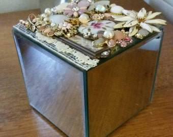 Shabby Chic Jeweled Box with Vintage Jewelry and Mirrored Sides