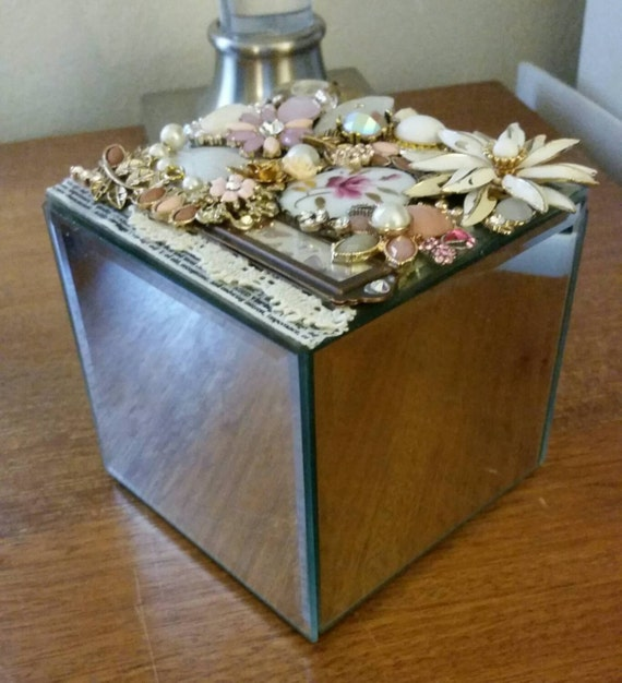 Shabby Chic Jeweled Trinket Box with Vintage Jewelry and Mirrored Sides