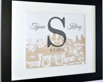 Wedding skyline art, wedding gift, city skyline, personalized print, engagement gift for couple, custom wedding gift, any city available