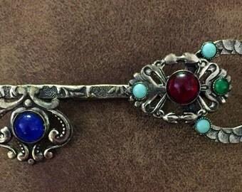 Vintage Cabochon Silver Tone Key Brooch
