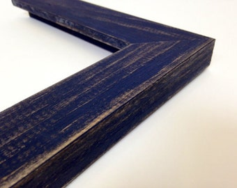 NAVY BLUE Rustic Wood Picture Frame, Reclaimed Distressed Wood - All Wood - 4x6, 5x7, 8x10, 11x14, 16x20, 18x24, 24x36 + Custom Frame Sizes