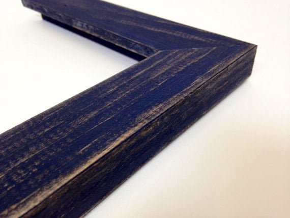 Navy Blue Rustic Wood Picture Frame Reclaimed Distressed Wood