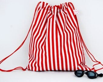Red Stripe Oversized Waterproof  Drawstring bag for Adults & Children. Suitable swim, gym or PE