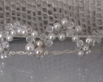 Handcrafted Pearl and Crystal Tiara, available in Silk White or Ivory Pearls with Silver and Clear Crystals