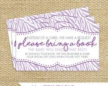 Baby Shower Book Request Cards - Purple Zebra