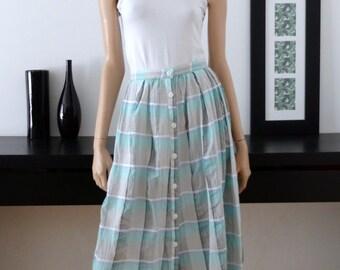 Vintage be green/grey/white checkered skirt size 40 / uk 12 / us 8