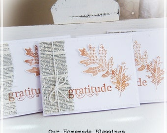 Fall Cards, Autumn Leaves, Stationery, Note Card, Greeting Card, Thanksgiving, Dictionary, Cottage Chic, Gratitude, Thanks, Farmhouse