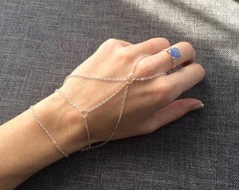 Chained slave bracelet minimalist jewelry Silver plated Hand Bracelet Silver hand jewelry hippie bracelet gypsy jewelry bohemian jewelry