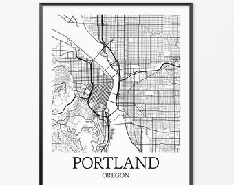 Portland Map Art Print, Portland Poster Map of Portland Decor, Portland City Map Art, Portland Gift, Portland Oregon Art Poster