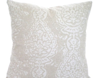 Tan Off White Decorative Throw Pillow Covers, Cushions Tan Off White Damask, Manchester Linen Look Tone on Tone Pillows Couch Bed, ALL SIZES