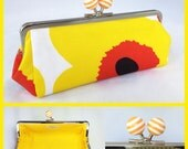 Marimekko Yellow & White stripe kisslock frame purse. For pens, sunglasses -ONE OFF-