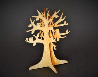 3D Wooden Jewelry Stand with Owls in Branches, Jewelry Tree, Earrings Holder, Alternative to Jewelry Box, Jewelry Display