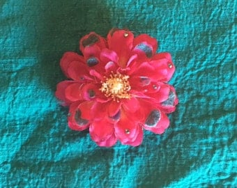 Pink and Blue Flower Hair Clip