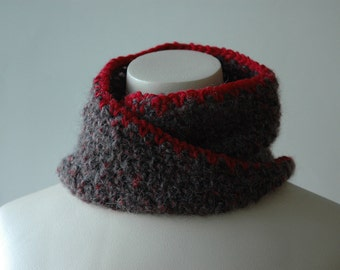 Soft crochet infinity cowl with red trim - ready to ship