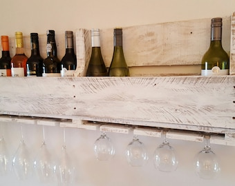 Rustic  pallet wood wine rack holds 12 bottles and 8 glasses reclaimed handmade