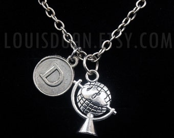 Silver Tellurion Necklace -Globe World Map Necklace -Initial Charm Necklace -Your Choice of A to Z