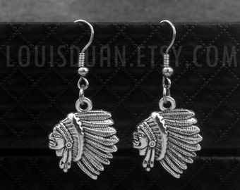 Native Indian Chief Earrings -Tribal Earrings -Gift For Her -With Gift Box