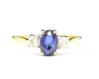 Ceylon Sapphire and diamond engagement ring in 18 carat gold 3 stone unique alternative ring for her