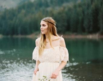 "Janay Marie - ""Stevie"" Gown - boho, off-the-shoulder chiffon wedding dress"