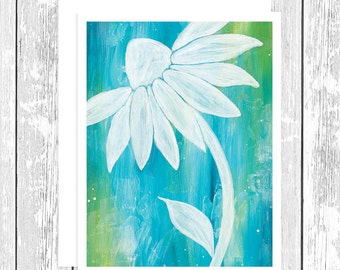 "NOTECARD: Pure Bliss White Daisy on Teal and Green, White Daisy 4.25"" x 5.5"" A2 Greeting Card, Gift for Her, Gift for Friend, Flower Lover"