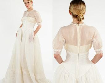Vintage Priscilla of Boston Wedding Dress / 1950s Long Wedding Gown
