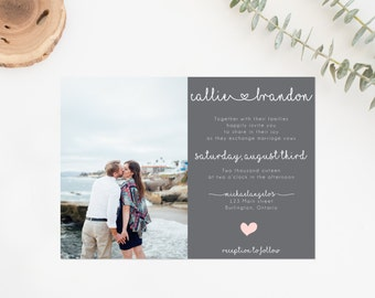 Rustic Wedding Invitation Suite, Printable Invitation Suite, Photo Wedding Invitation