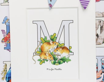 Alphabet Pictures - M : Personalised Prints