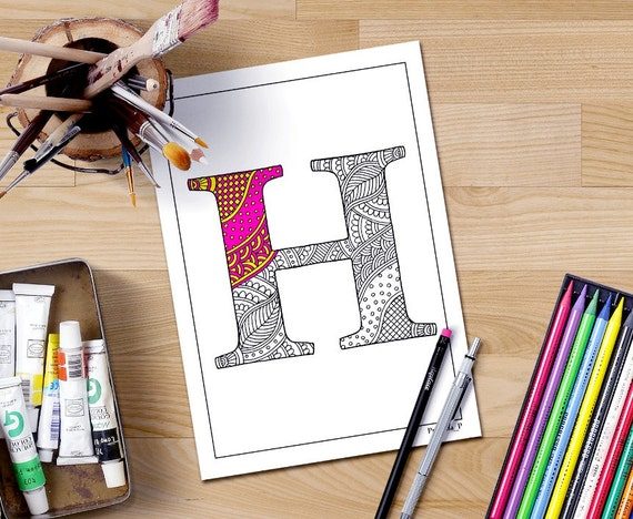 Zentangle Alphabet Coloring Pages For Adults Letter H Henna