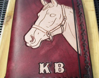 Personalized Leather Journal. Carved Image.