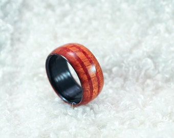 Size 10.25 - Wood Ring - Bloodwood, Red German Glass |  Mens Wood Wedding Band | Wooden Rings For Men | 5th Anniversary Gift | Wooden Ring
