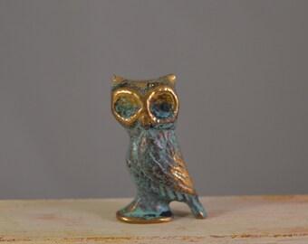 Vintage solid brass OWL,figure,miniature