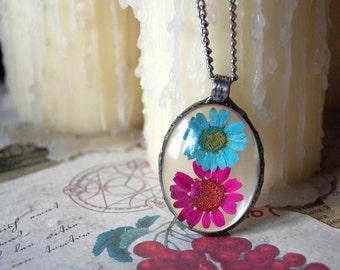 Large TERRARIUM necklace, wildflower necklace, purple daisy necklace, terrarium jewelry, plant jewelry, botanical jewelry,pressed flower