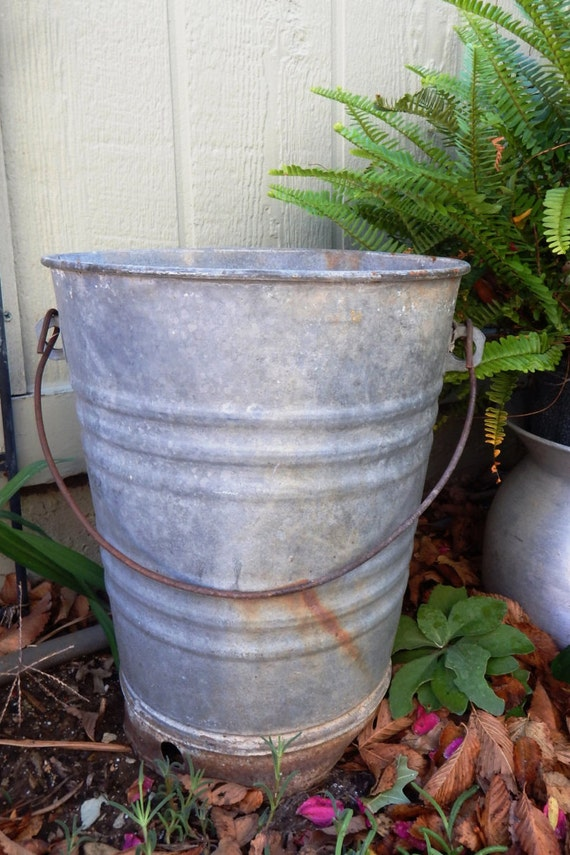 Items similar to galvanized metal water well bucket round for Galvanized well bucket