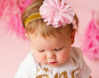 Pink and gold headband, pink and gold first birthday headband, pink birthday headband, gold first birthday