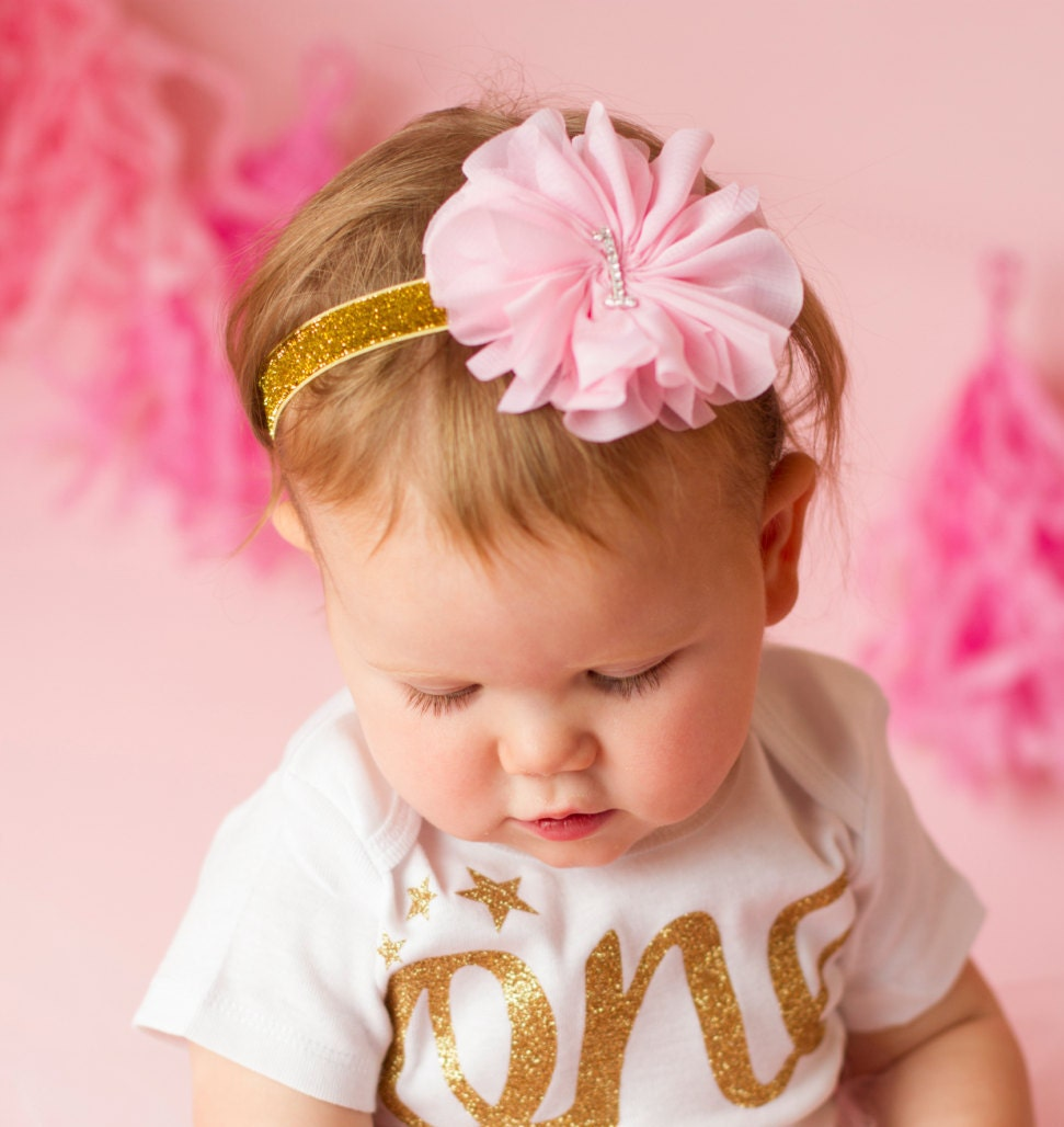 Pink And Gold Headband Pink And Gold First Birthday Headband