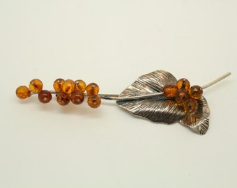 Vintage Sterling Silver Brooch /w Hand-Cut Amber Beads circa 1930s