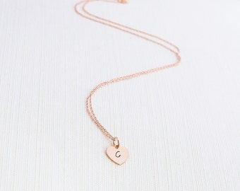 Rose Gold Heart Initial Necklace, Initial Necklace , Heart Necklace, Personalised Jewellery, Rose Gold Plated Necklace