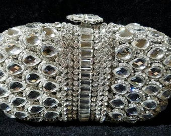 New Silver & Austrian Crystal Gems  -Hard Shell Clutch Evening Minaudiere Handbag