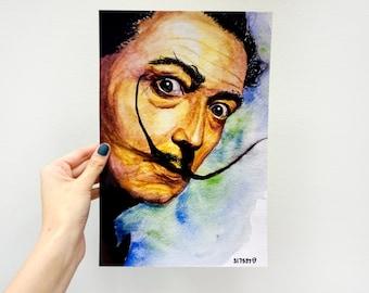 Digital Photo Painting Art Print / Salvador Dali Mustache  / 8 x 12 Watercolor / Wall Art Decor
