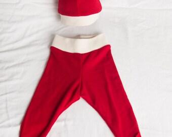ON SALE - 100% Merino Wool Baby Pants & Hat Gift Set - Red - 0-3m / Newborn gift set / Baby Shower Gift Set / Hospital Take Home Gift Set