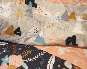 woodland baby quilt baby girl bedding baby quilts for sale floral deer baby