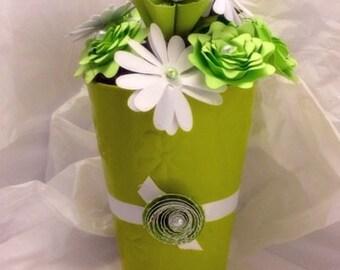 Paper Flower Planter Centerpiece - green - white