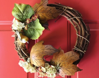Door Wreath with handcarved Gourd Leaves