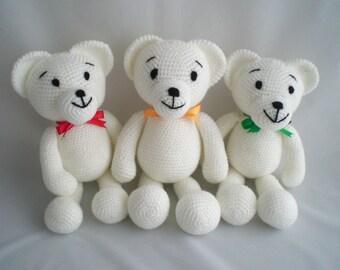 Crochet Teddy Bear / Amigurumi Teddy Bear /  Small Ultra Soft and Cuddly, Snowy White Teddy Bear soft toy.