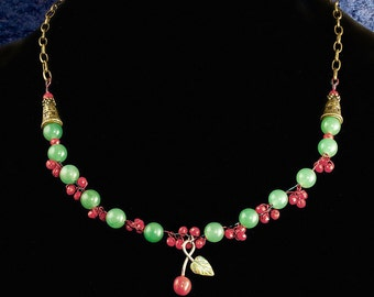 Cherry and Brass Bough Necklace