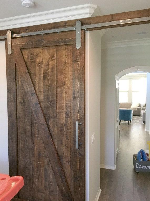 Modern Style Sliding Barn Door Hardware Kit With Track New