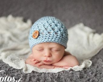 Baby Boy Hat, Ready to Ship, Crochet Baby Hat, Baby Boy Beanie, Newborn Hat, Newborn Beanie, Baby Blue Hat, Newborn Photo Prop, Baby Hat