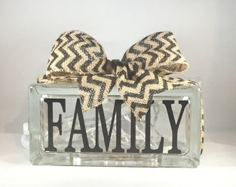 FAMILY Rectangular Decorative Home Decor Lighted Glass Block