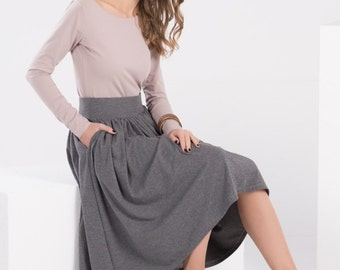 MIDI SKIRT | pleated skirt with pockets